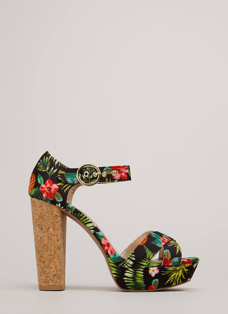 Tropical Destination Chunky Floral Heels BLACKMULTI
