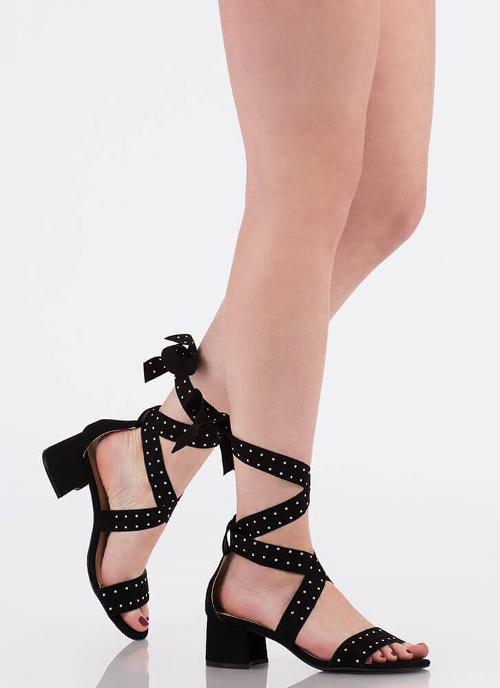 On The Dot Studded Lace-Up Block Heels BLACK