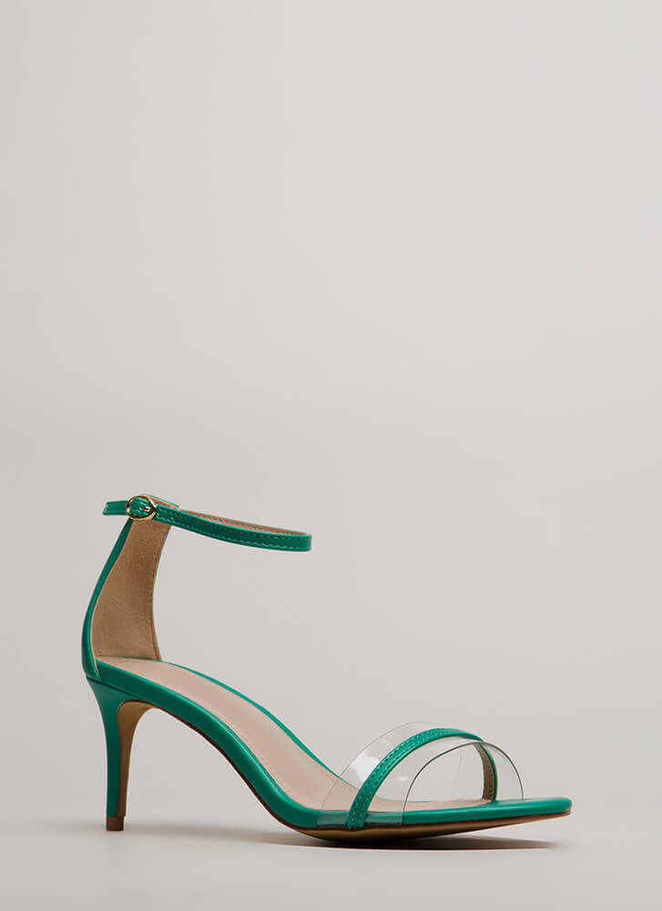 Clear Up Strappy Short Illusion Heels GREEN