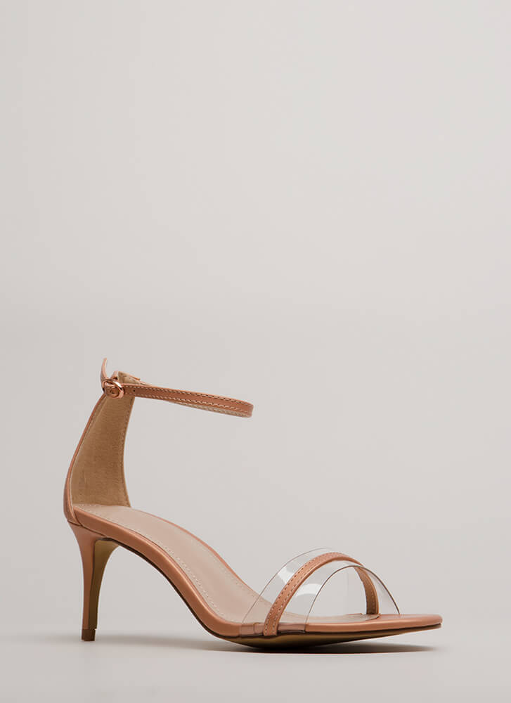 Clear Up Strappy Short Illusion Heels MAUVE