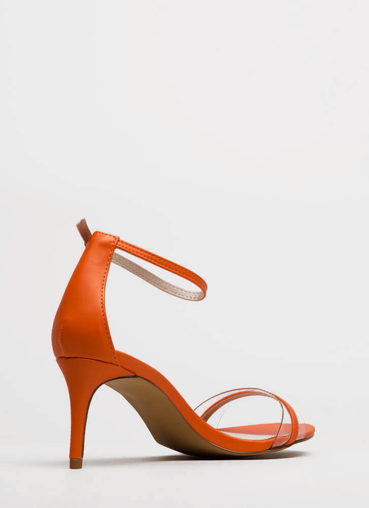 Clear Up Strappy Short Illusion Heels ORANGE