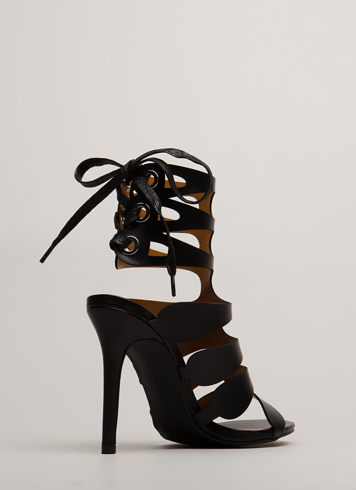 Going Cut-Out Tonight Lace-Back Heels BLACK