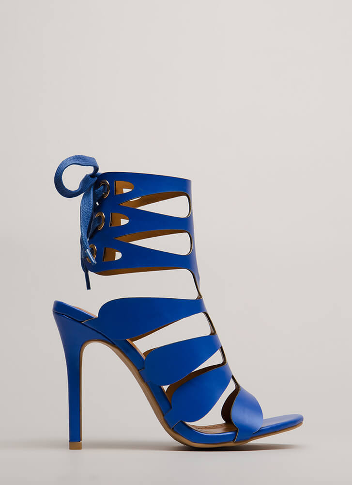 Going Cut-Out Tonight Lace-Back Heels BLUE