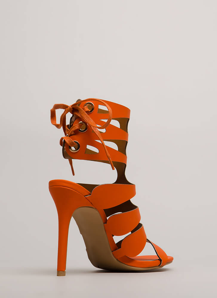 Going Cut-Out Tonight Lace-Back Heels ORANGE