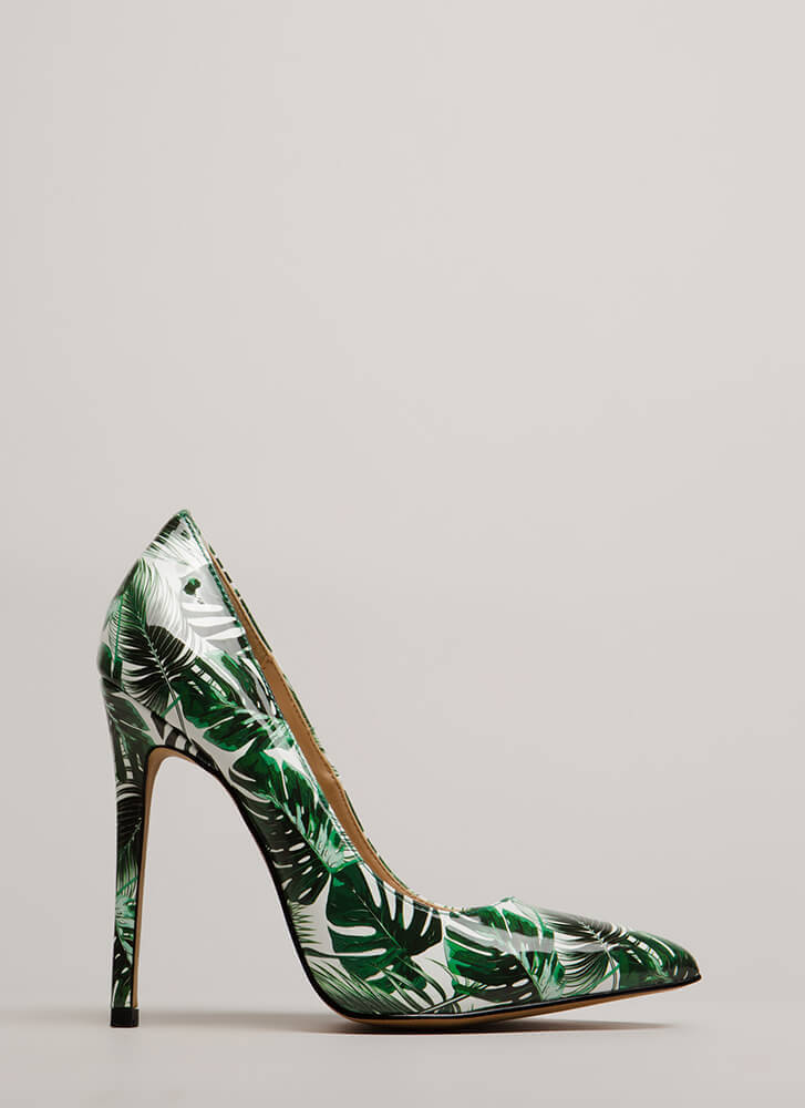 Stay Palm Tropical Faux Patent Pumps GREEN