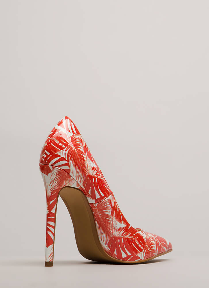 Stay Palm Tropical Faux Patent Pumps ORANGE