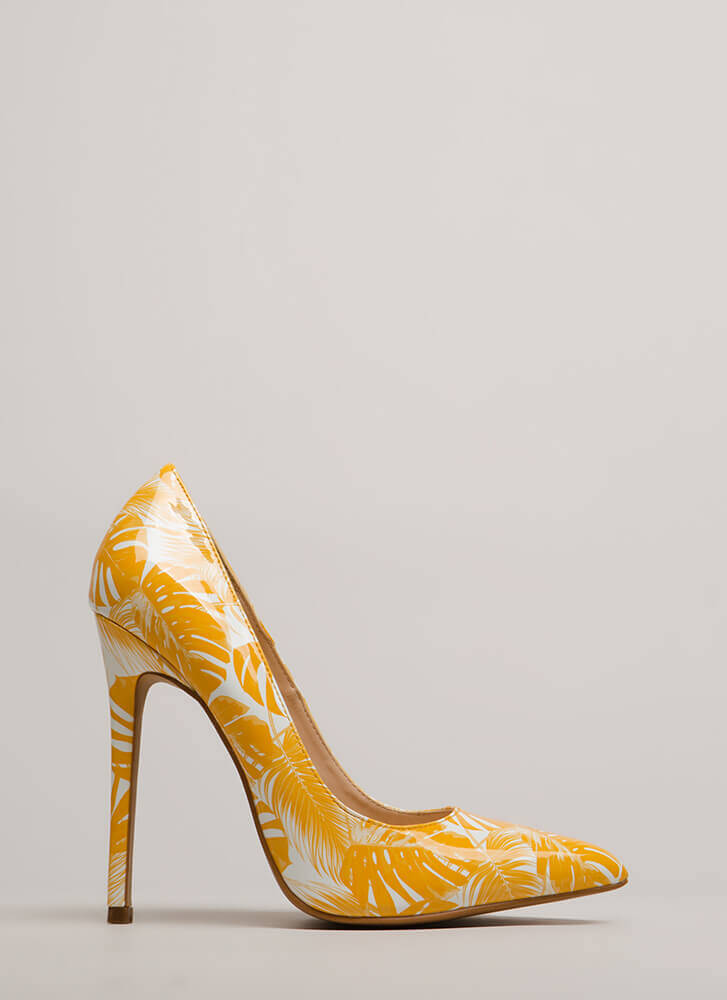 Stay Palm Tropical Faux Patent Pumps YELLOW