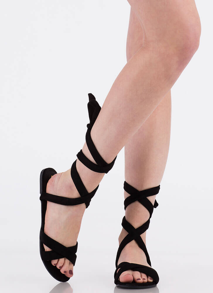 Fresh Legs Strappy Lace-Up Sandals BLACK