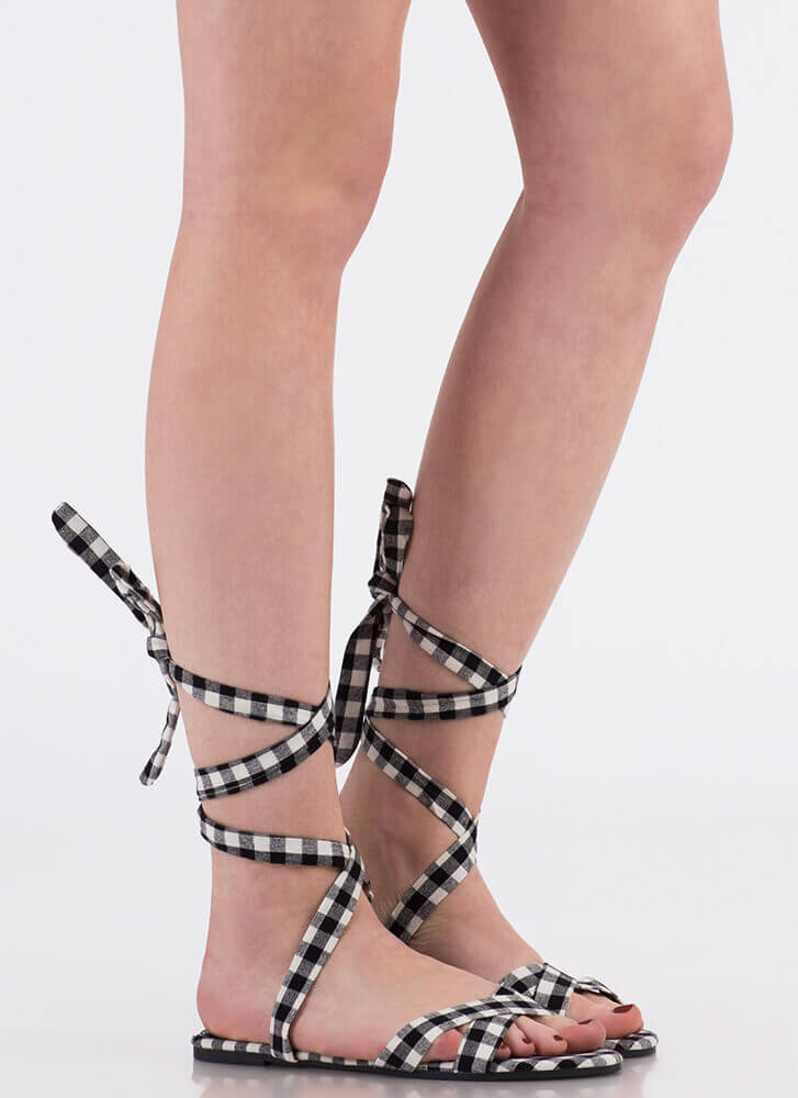 Fresh Legs Strappy Lace-Up Sandals BLACKWHITE