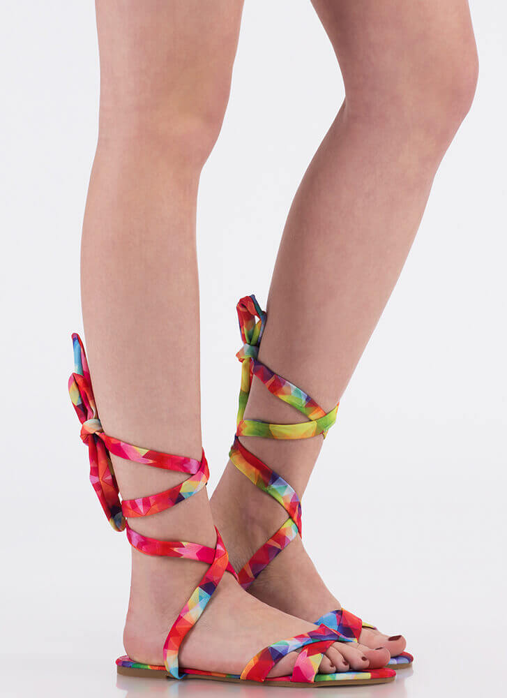 Fresh Legs Strappy Lace-Up Sandals MULTI