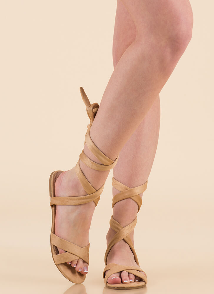 Fresh Legs Strappy Lace-Up Sandals NUDE