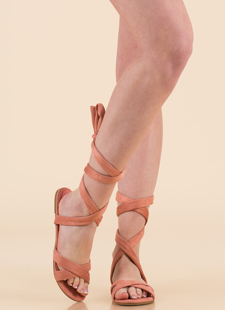 Fresh Legs Strappy Lace-Up Sandals PINK