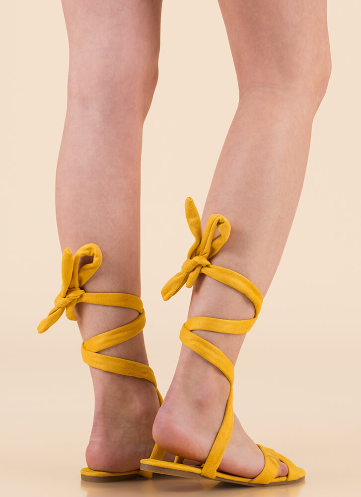Fresh Legs Strappy Lace-Up Sandals YELLOW