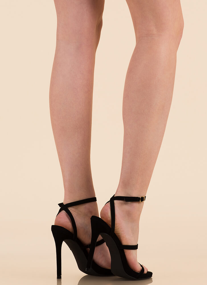 A Thing Of Beauty Strappy Heels BLACK