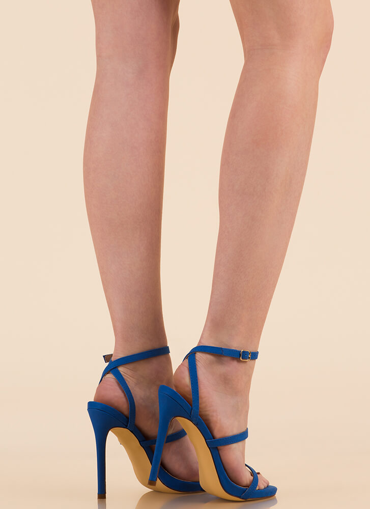 A Thing Of Beauty Strappy Heels BLUE