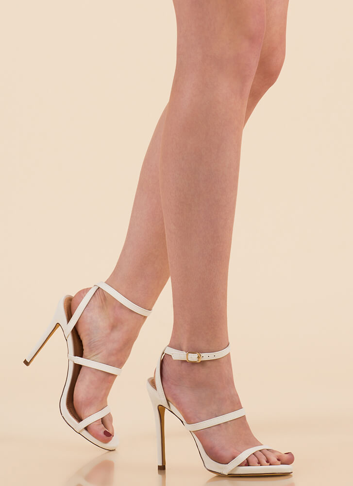 A Thing Of Beauty Strappy Heels WHITE