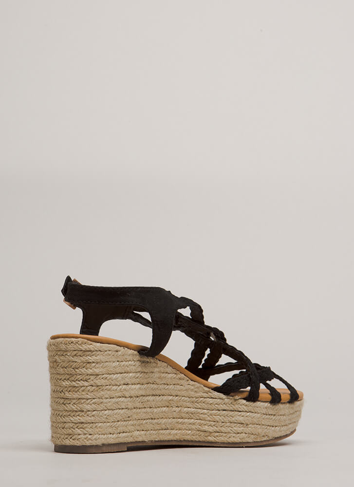 Next Vacay Braided Espadrille Wedges BLACK