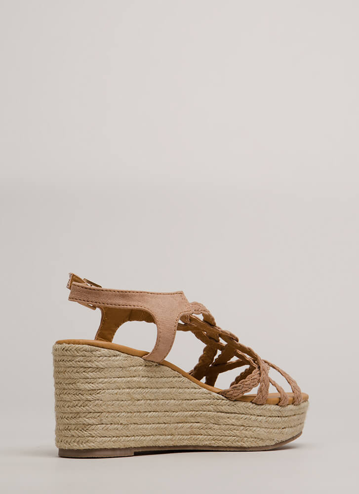 Next Vacay Braided Espadrille Wedges TAUPE
