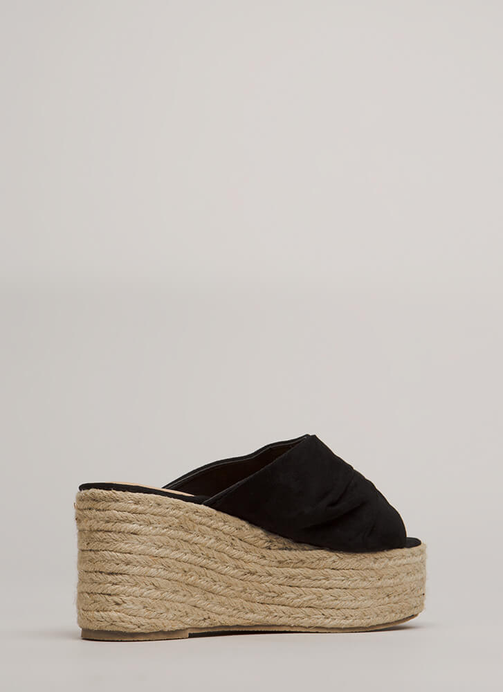 Pretty Pleats Faux Suede Mule Wedges BLACK