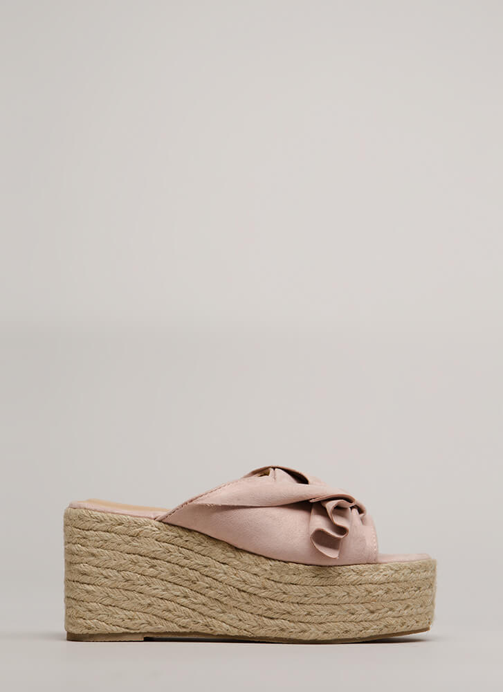 Pretty Pleats Faux Suede Mule Wedges PINK
