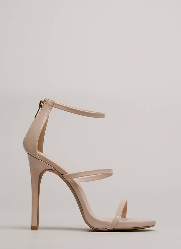 Make It Strappy Faux Patent Heels NUDE