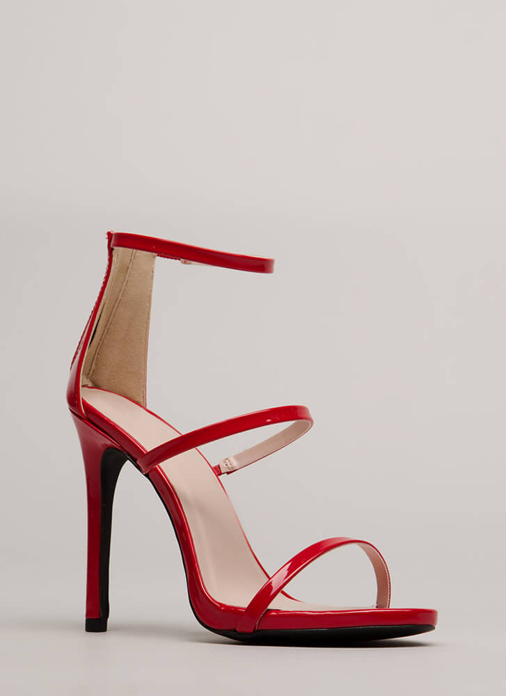 Make It Strappy Faux Patent Heels RED