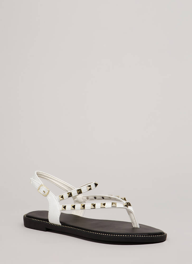 83826943344 What A Trip Studded Thong Sandals WHITE - GoJane.com