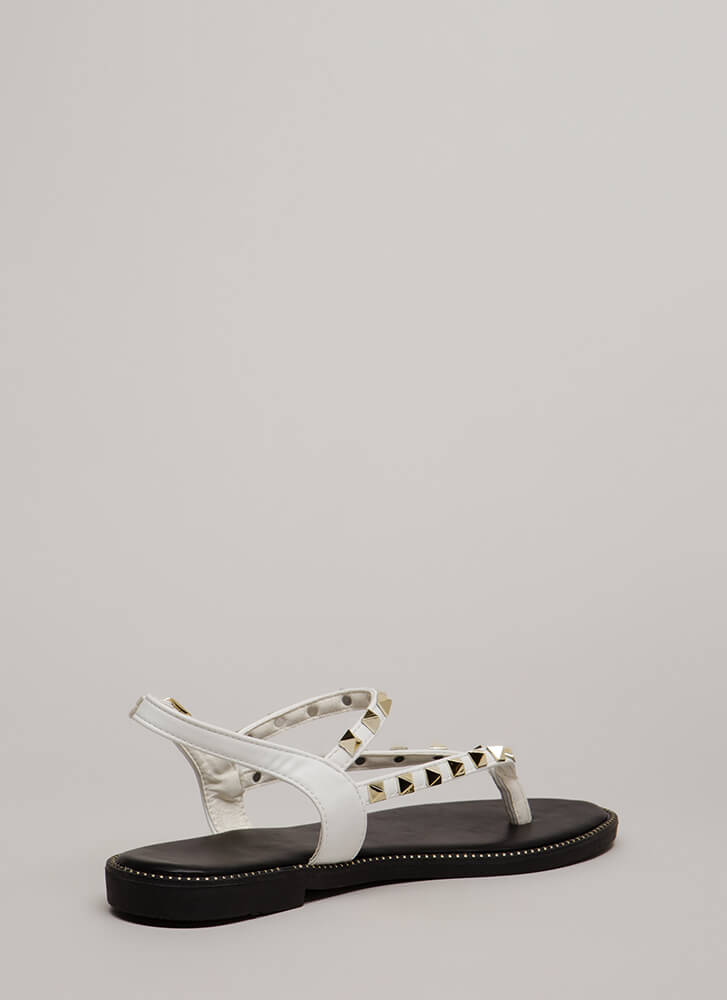 What A Trip Studded Thong Sandals WHITE