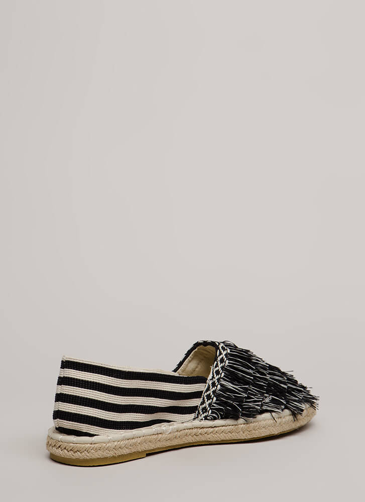 Fringe First Striped Moccasin Flats BLACKWHITE