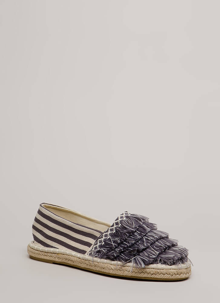 Fringe First Striped Moccasin Flats GREYWHITE