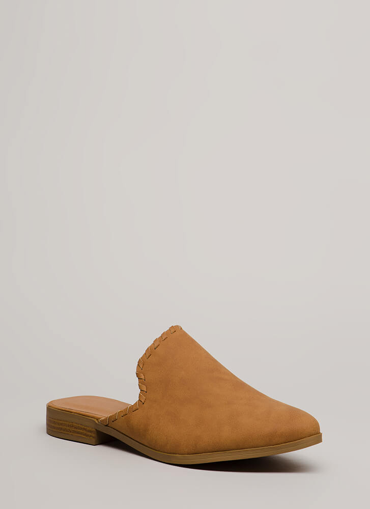 Moment's Notice Faux Leather Mule Flats CAMEL