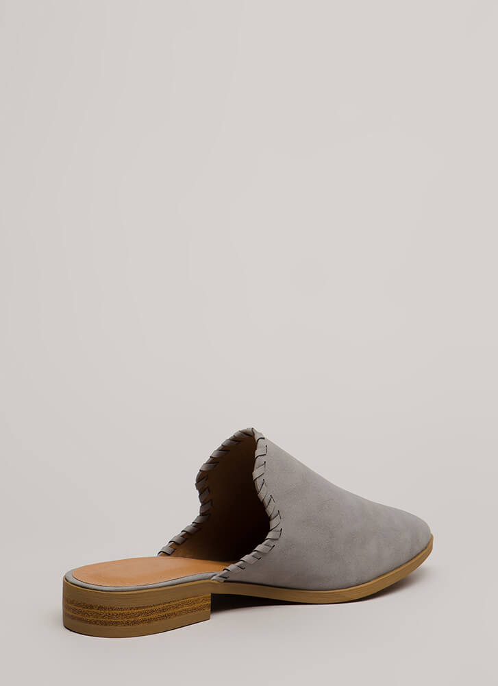 Moment's Notice Faux Leather Mule Flats GREY (Final Sale)