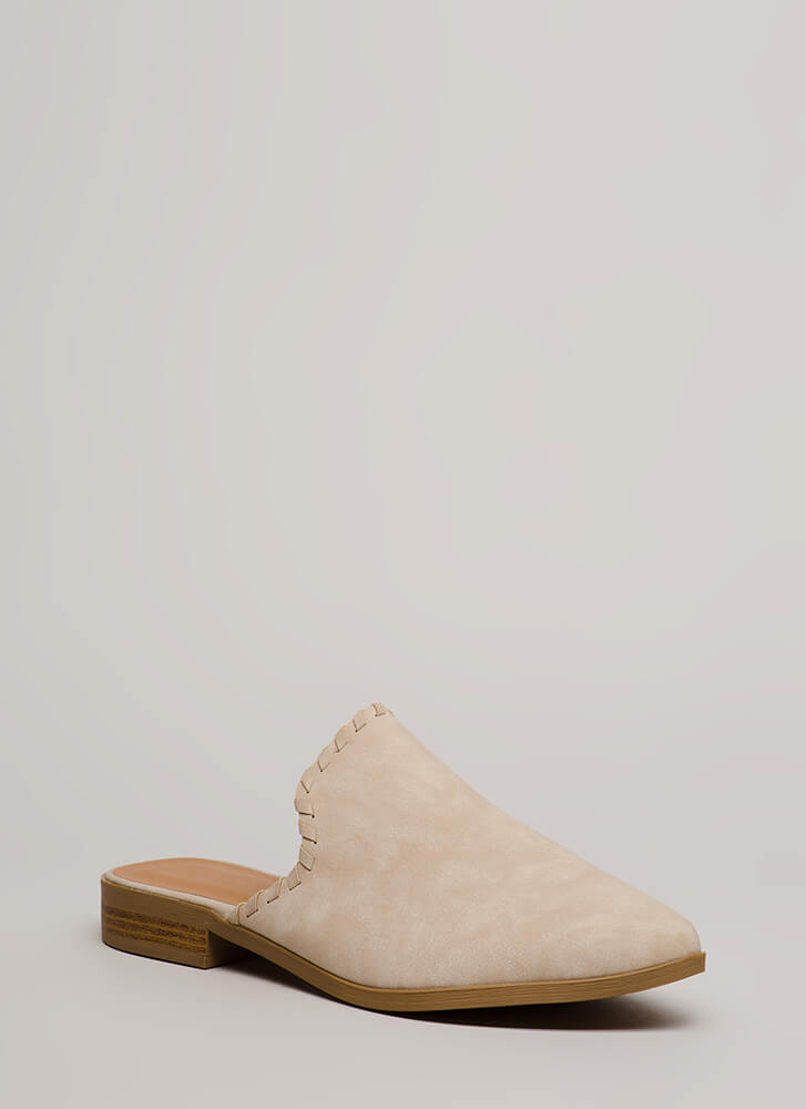 Moment's Notice Faux Leather Mule Flats STONE