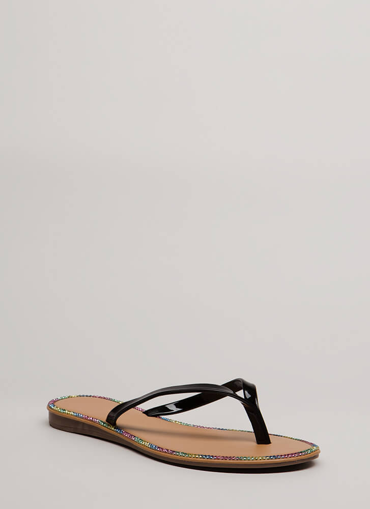 Small Sparkle Jeweled Thong Sandals BLACK