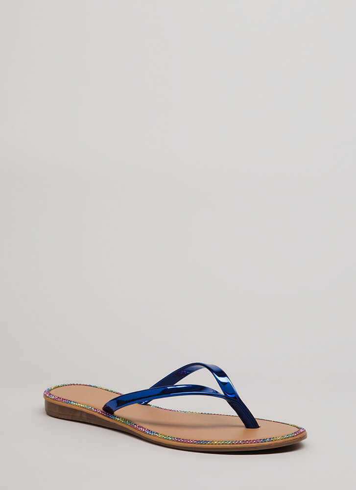 Small Sparkle Jeweled Thong Sandals BLUE