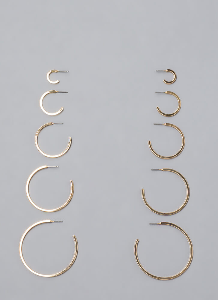 High Five Partial Hoop Earring Set GOLD (You Saved $8)