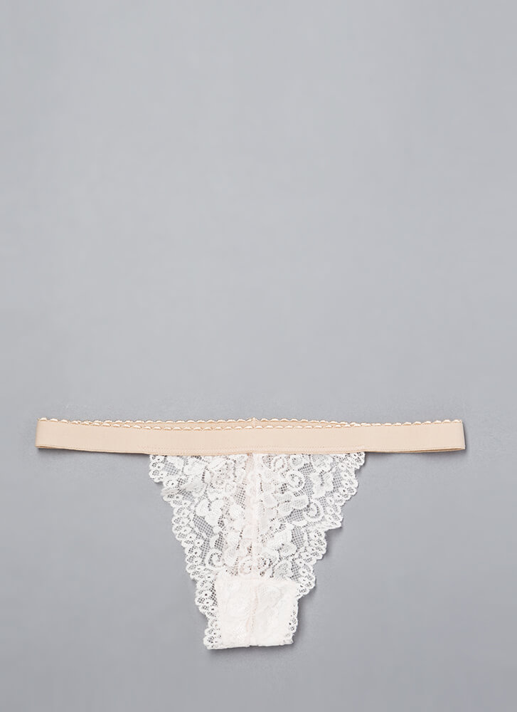 Pretty On The Inside Lace Thong LTBEIGE