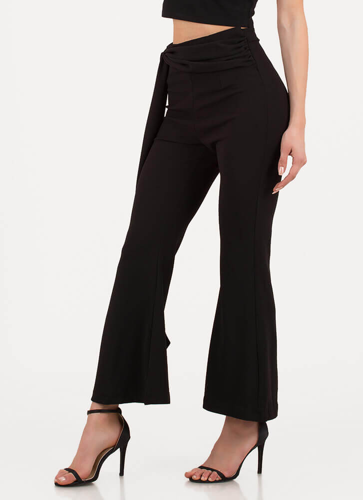 Sash Winner Cropped Bell-Bottom Pants BLACK