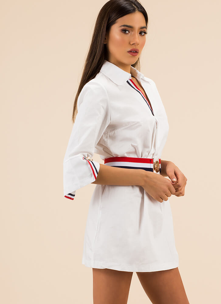 Gold Medal Striped Belted Shirt Dress WHITE