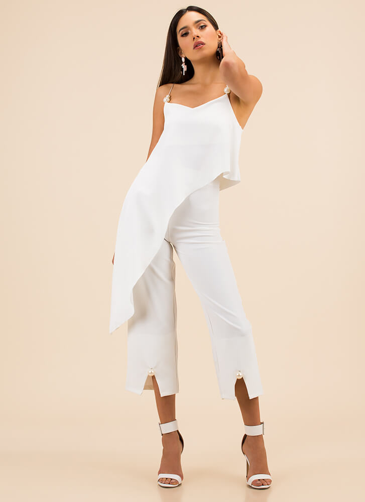 Glamour Pearls High-Low Top And Pant Set WHITE