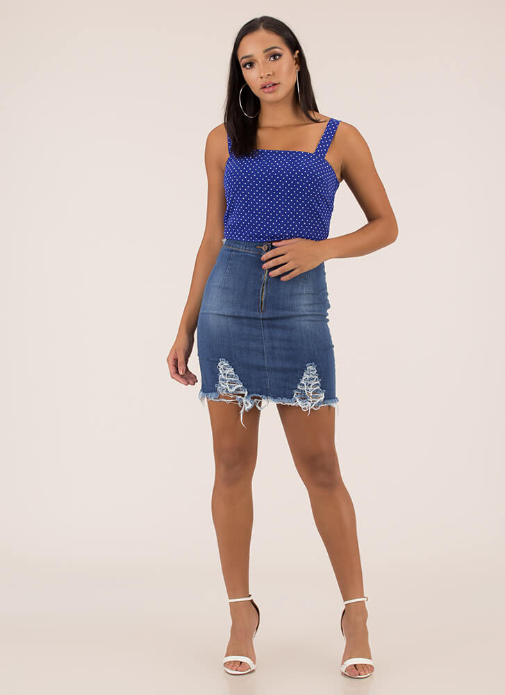 Rip It Good Destroyed Denim Skirt MEDBLUE