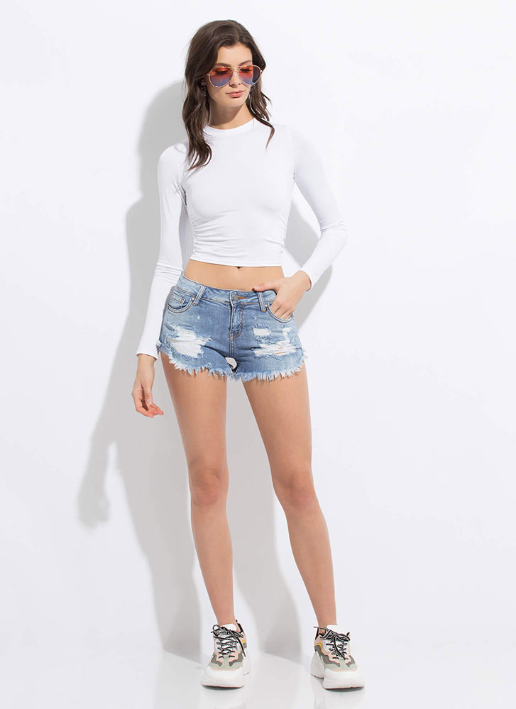 Small Packages Fringed Denim Shorts LTBLUE (You Saved $18)