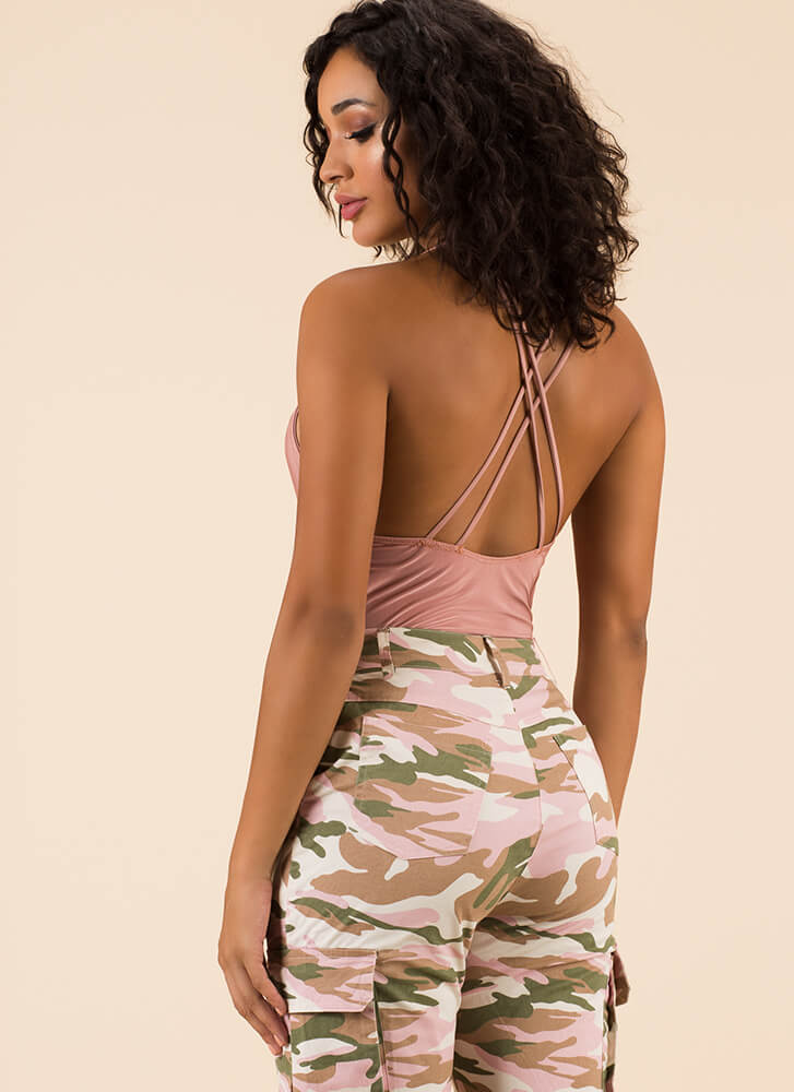 Get Strappy Plunging Cut-Out Bodysuit CORAL