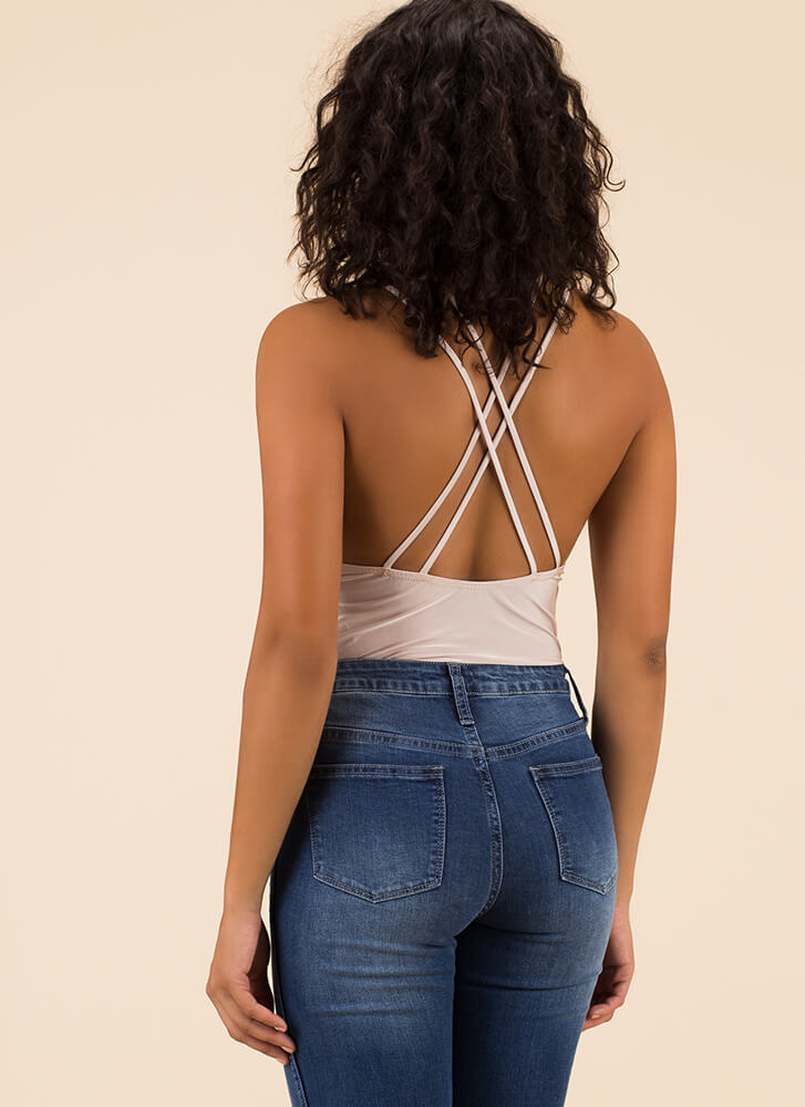 Get Strappy Plunging Cut-Out Bodysuit NUDE