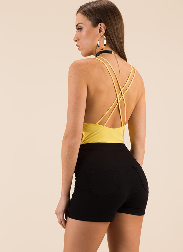 Get Strappy Plunging Cut-Out Bodysuit YELLOW