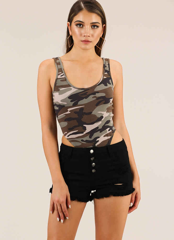 Hidden Figure High-Cut Camo Bodysuit CAMO