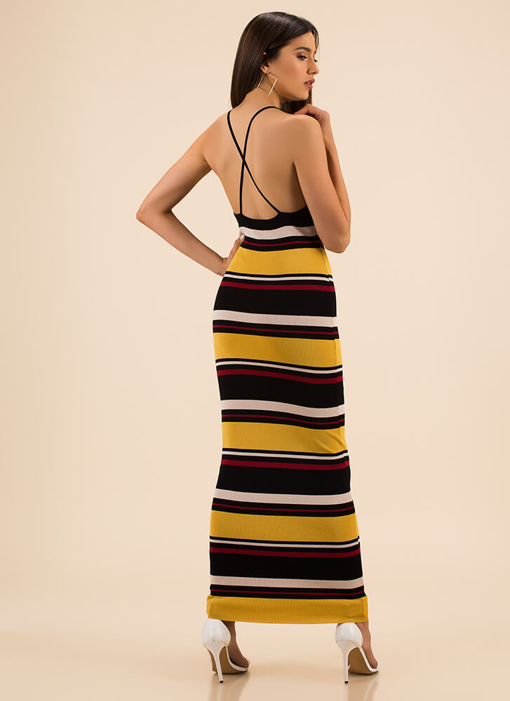 Longing For A Striped Knit Maxi Dress YELLOW