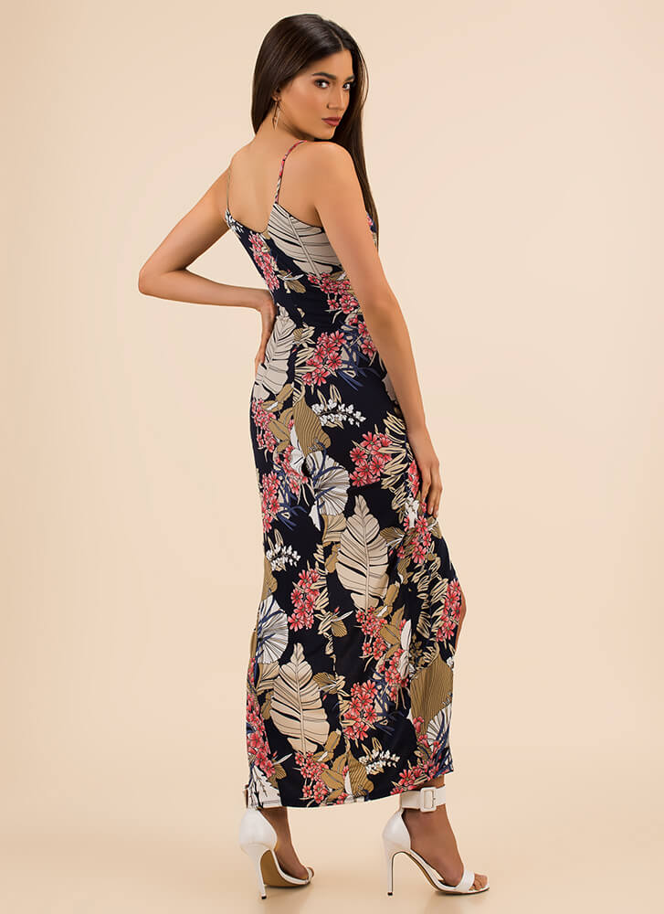 Palm And Peaceful Tropical Maxi Dress NAVY