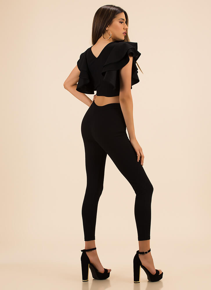 Frill Me Up Ruffled Top And Legging Set BLACK