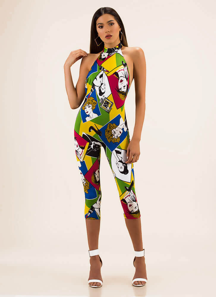 Woman's Touch Cartoon Print Jumpsuit MULTI
